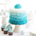 45305828 - ombre ruffle cake on a dessert table