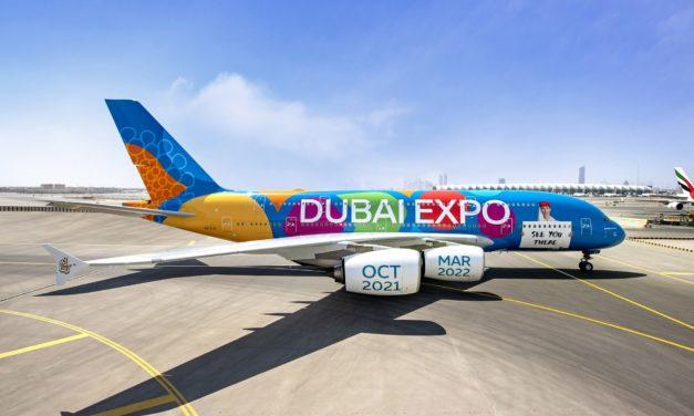 Emirates představila první letadlo s celoplošnou livrejí v barvách dubajského Expa 2020